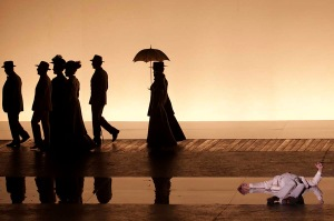 "Death in Venice (Morte a Venezia), di Benjamin Britten, Regia Deborah Warner, 2011, Opera in due atti op.88 su libretto di Myfanwy Piper dal racconto ""La morte a Venezia"" di Thomas Mann. Musica di Benjamin Britten, con Gustav Von Aschenbach JOHN GRAHAM-HALL, The Traveller/The Elderly Fop/The Voice of Dionysius PETER COLEMAN-WRIGHT, The Voice of Apollo IESTYN DAVIES, The Polish Mother ANJA GRUBIC, Tadzio, her son ALBERTO TERRIBILE, Her two daughters CAMILLA ESPOSITO, ARIANNA SPAGNUOLO, Their governess MARINELLA CRESPI, Jaschiu, Tadzio's friend JACOPO GIARDA, Hotel porter PETER VAN HULLE, Strawberry-seller ANNA DENNIS Guide CHARLES JOHNSTON, Strolling players ANNA DENNIS, DONAL BYRNE, English clerk JONATHAN GUNTHORPE, The Glass maker RICHARD EDGAR-WILSON, Lace seller CONSTANCE NOVIS, Beggar woman MADELEINE SHAW, Restaurant waiter BENOIT DE LEERSNYDER, Allievi della Scuola di Ballo dell'Accademia del Teatro alla Scala, Orchestra e Coro del Teatro alla Scala, Direttore Edward Gardner, Maestro del coro Bruno Casoni Regia Deborah Warner, Scene Tom Pye, Costumi Chloe Obolensky, Coreografia Kim Brandstrup, Luci Jean Kalman, Produzione della English National Opera di Londra e del Théâtre Royal de la Monnaie di Bruxelles, foto di Serena Pea"